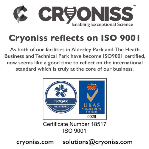 Cryoniss Reflects on ISO 9001